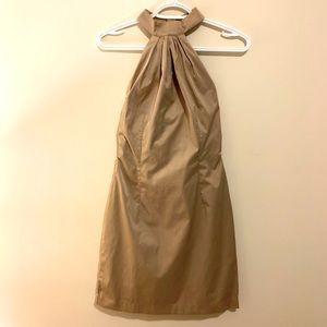 Halter Neck,Open Back Beige Mini Dress
